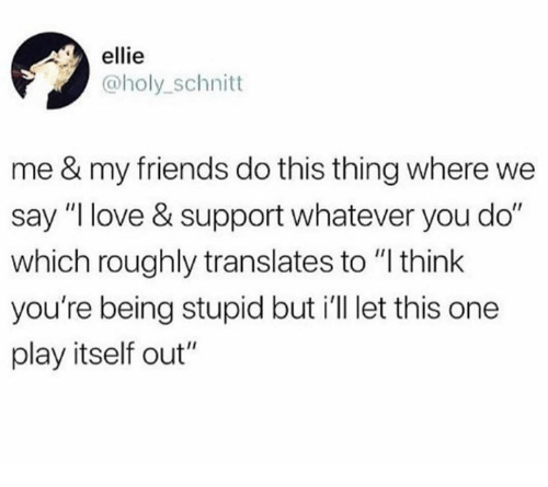 "ellie: ellie  @holy_schnitt  me & my friends do this thing where we  say ""I love & support whatever you do""  which roughly translates to ""l think  you're being stupid but i'll let this one  play itself out"""