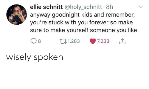 ellie: ellie schnitt @holy_schnitt 8h  anyway goodnight kids and remember,  you're stuck with you forever so make  sure to make yourself someone you like  t1.283  7.233 wisely spoken