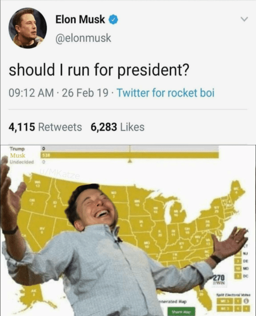 Run, Twitter, and Trump: Elon Musk <  @elonmusk  should I run for president?  09:12 AM 26 Feb 19 Twitter for rocket boi  4,115 Retweets 6,283 Likes  Trump  Musk  Undecided  528  wv  12  N2  DE  MO  DC  ated Map  Share Mag