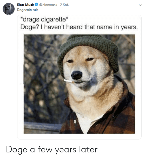 Doge, Cigarette, and Elon Musk: Elon Musk@elonmusk 2 Std  Dogecoin rulz  drags cigarette  Doge? I haven't heard that name in years. Doge a few years later