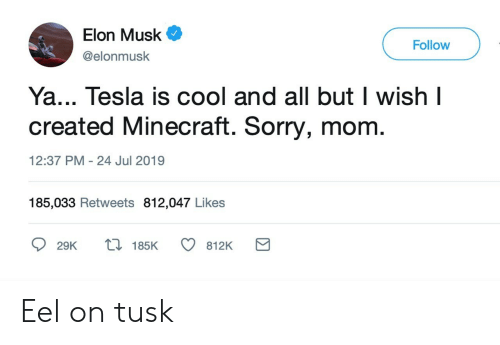 Minecraft, Sorry, and Cool: Elon Musk  Follow  @elonmusk  Ya... Tesla is cool and all but I wish I  created Minecraft. Sorry, mom.  12:37 PM 24 Jul 2019  185,033 Retweets 812,047 Likes  t 185K  29K  812K Eel on tusk