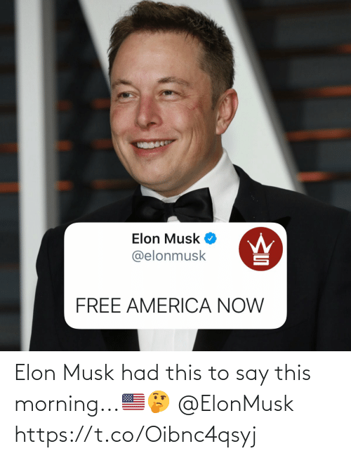 elon: Elon Musk had this to say this morning...🇺🇸🤔 @ElonMusk https://t.co/Oibnc4qsyj