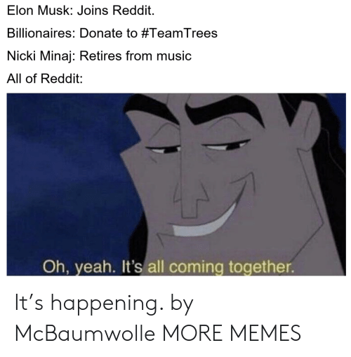 Dank, Memes, and Music: Elon Musk: Joins Reddit.  Billionaires: Donate to #TeamTrees  Nicki Minaj: Retires from music  All of Reddit:  Oh, yeah. It's all coming together It's happening. by McBaumwolle MORE MEMES