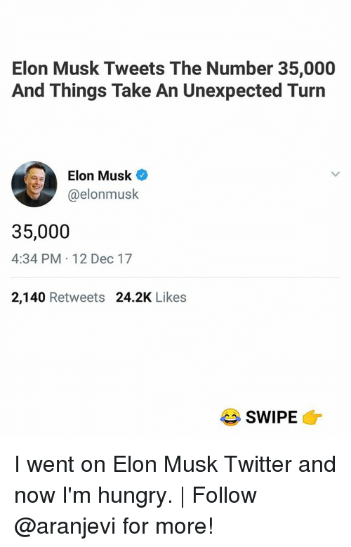 Hungry, Memes, and Twitter: Elon Musk Tweets The Number 35,000  And Things Take An Unexpected Turn  Elon Musk  @elonmusk  35,000  4:34 PM 12 Dec 17  2,140 Retweets 24.2K Likes  SWIPE I went on Elon Musk Twitter and now I'm hungry. | Follow @aranjevi for more!