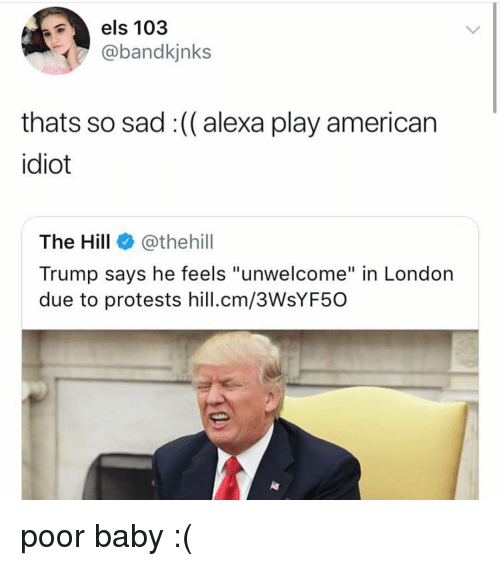 """els: els 103  @bandkjnks  thats so sad :(( alexa play american  idiot  The Hill@thehill  Trump says he feels """"unwelcome"""" in London  due to protests hill.cm/3WsYF50 poor baby :("""