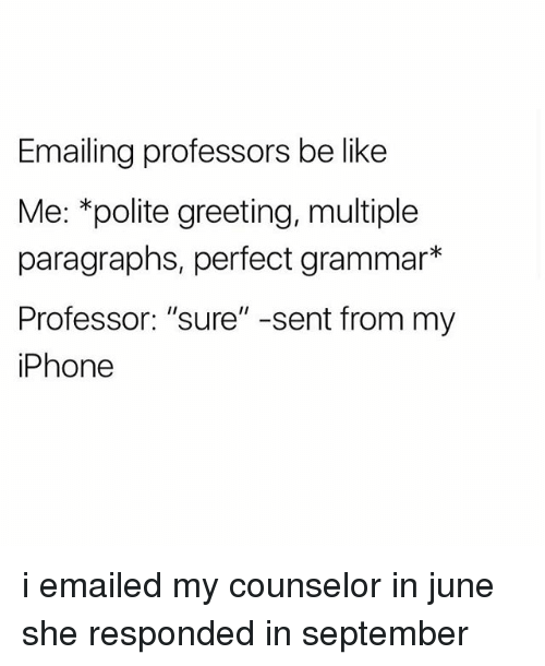 "Be Like, Iphone, and September: Emailing professors be like  Me: *polite greeting, multiple  paragraphs, perfect grammar*  Professor: ""sure"" -sent from my  iPhone i emailed my counselor in june she responded in september"