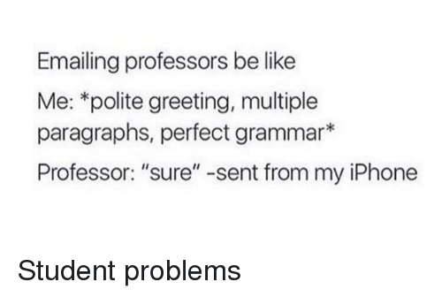 "greeting: Emailing professors be like  Me: *polite greeting, multiple  paragraphs, perfect grammar*  Professor: ""sure"" -sent from my iPhone Student problems"