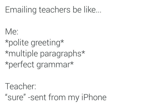 "greeting: Emailing teachers be like..  Мe:  *polite greeting*  *multiple paragraphs*  *perfect grammar*  Тeacher:  ""sure"" -sent from my iPhone"