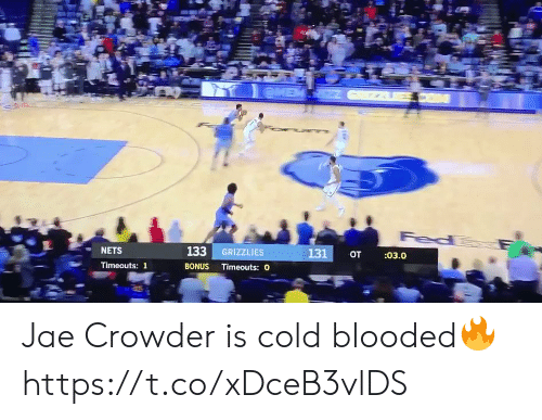 fed: eME  Fed  133 GRIZZLIES  131  :03.0  от  NETS  BONUS Timeouts: O  Timeouts: 1 Jae Crowder is cold blooded🔥 https://t.co/xDceB3vlDS