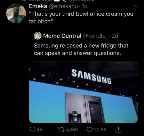 "of ice: Emeka @emekanu · 1d  ""That's your third bowl of ice cream you  fat bitch""  Meme Central @kxndle_ · 2d  Samsung released a new fridge that  can speak and answer questions.  SAMSUNG  20.6K  275,380  45"