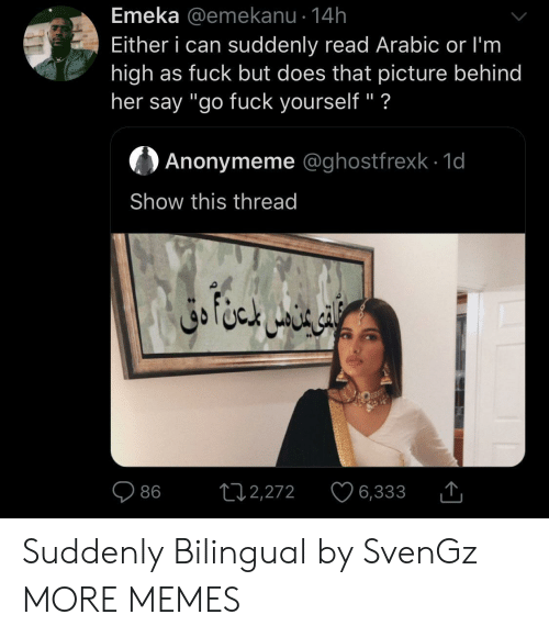 """Dank, Memes, and Target: Emeka @emekanu 14h  Either i can suddenly read Arabic or I'm  high as fuck but does that picture behind  her say """"go fuck yourself"""" ?  Anonymeme @ghostfrexk 1d  Show this thread  ال خا متن دق  L12,272  86  6,333 Suddenly Bilingual by SvenGz MORE MEMES"""
