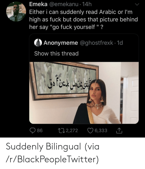 """Blackpeopletwitter, Fuck, and Her: Emeka @emekanu 14h  Either i can suddenly read Arabic or I'm  high as fuck but does that picture behind  her say """"go fuck yourself"""" ?  Anonymeme @ghostfrexk 1d  Show this thread  ال خا متن دق  L12,272  86  6,333 Suddenly Bilingual (via /r/BlackPeopleTwitter)"""