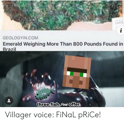 Brazil, Fish, and Voice: EMER  i  GEOLOGYIN.COM  Emerald Weighing More Than 800 Pounds Found in  Brazil  three fish, Final Offer. Villager voice: FiNaL pRiCe!