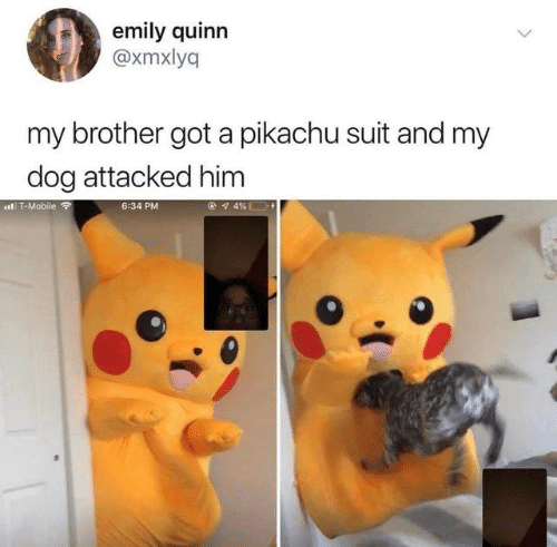 Dank, Pikachu, and T-Mobile: emily quinn  @xmxlyq  my brother got a pikachu suit and my  dog attacked him  l T-Mobile a  6:34 PM