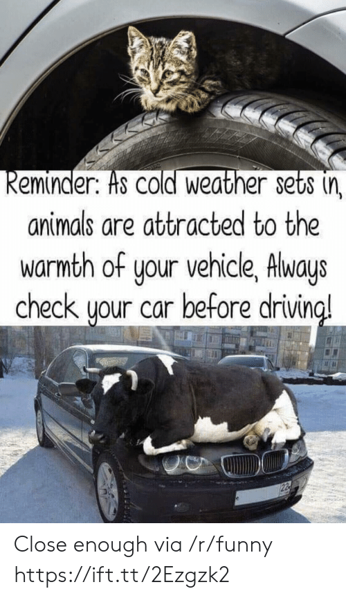 Cold Weather: eminder. Hs COld Weather sets (n  animals are attracted to the  warmth of your vehicle, Always  check uour car before drivin  a! Close enough via /r/funny https://ift.tt/2Ezgzk2