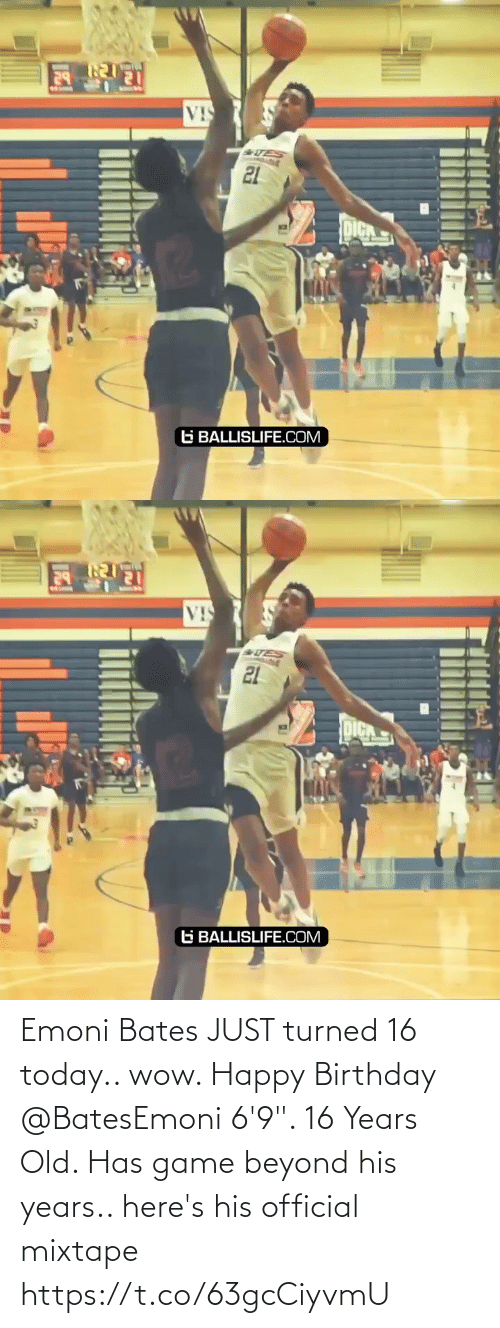 """16 years old: Emoni Bates JUST turned 16 today.. wow. Happy Birthday @BatesEmoni 6'9"""". 16 Years Old. Has game beyond his years.. here's his official mixtape https://t.co/63gcCiyvmU"""
