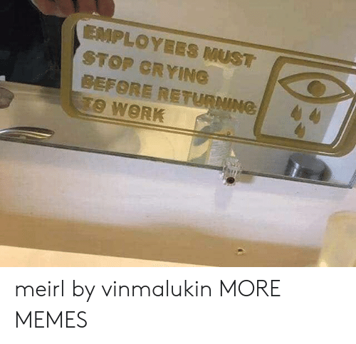 Returning: EMPLOYEES MUST  STOP CRYING  BEFORE RETURNING  TO WORK meirl by vinmalukin MORE MEMES