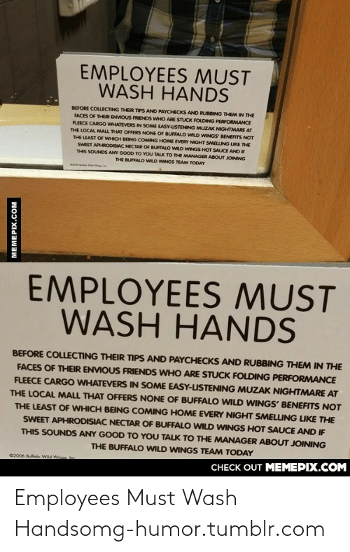 Wild Wings: EMPLOYEES MUST  WASH HANDS  BEFORE COLLECTING THEIR TIPS AND PAYCHECKS AND RUBBING THEM IN THE  FACES OF THEIR ENVIOUS FRIENDS WHO ARE STUCK FOLDING PERFORMANCE  FLEECE CARGO WHATEVERS IN SOME EASY-USTENING MUZAK NIGHTMARE AT  THE LOCAL MALL THAT OFFERS NONE OF BUFFALO WILD WINGS BENEFITS NOT  THE LEAST OF WHICH BEING COMING HOME EVERY NIGHT SMELLING LIKE THE  SWEET APHRODISIAC NECTAR OF BUFFALO WILD WINGS HOT SAUCE AND IF  THIS SOUNDS ANY GOOO TO YOU TALK TO THE MANAGER ABOUT JOINING  THE BUFFALO WILD WINGS TEAM TODAY  EMPLOYEES MUST  WASH HANDS  BEFORE COLLECTING THEIR TIPS AND PAYCHECKS AND RUBBING THEM IN THE  FACES OF THEIR ENVIOUS FRIENDS WHO ARE STUCK FOLDING PERFORMANCE  FLEECE CARGO WHATEVERS IN SOME EASY-USTENING MUZAK NIGHTMARE AT  THE LOCAL MALL THAT OFFERS NONE OF BUFFALO WILD WINGS' BENEFITS NOT  THE LEAST OF WHICH BEING COMING HOME EVERY NIGHT SMELLING LIKE THE  SWEET APHRODISIAC NECTAR OF BUFFALO WILD WINGS HOT SAUCE AND IF  THIS SOUNDS ANY GOOD TO YOU TALK TO THE MANAGER ABOUT JOINING  THE BUFFALO WILD WINGS TEAM TODAY  C2006 Bullalo Wd We  n  CHECK OUT MEMEPIX.COM  MEMEPIX.COM Employees Must Wash Handsomg-humor.tumblr.com