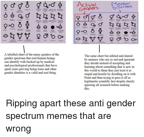 Ignorant, Memes, and Transgender: enbal  Disorders  Bigender:igender B  female and androgyne  Genders  Gigender: third Demiagender  and nou 9ender and demi- with semigh  Androgyne  lexample ot  female + male)  boy  Agender /  Gendertess intergender  Neutrois  Genderuid: Genderfluid: Genderfluid: thrd Genderluid:  female and intergender gender and demi androgyne  and female  and neutrois  girt  Third Gender Genderqueer Pangender!  Non-binary Pangender  Demigini  Agender  4gender  version 2  with third  gender)  varsion  gendervoid  Genderfluid Transgender  Epicene  example of  Travesti n Aliagender  fatternative version)  femaie and male)  A labelled chart of the many genders of the  gender spectrum that real human beings  can identify with backed up by medical  and psychological professionals that have  spent vears proving being trans and other  gender identities is a valid and real thing,  The same chart but editied and shared  by memers who are so sad and ignorant  they decide instead of accepting and  learning about something that is new in  this world to them they just treat it as  stupid and hostile by doodling on it with  Paint and then trying to pass it off as  legitimetie scientific fact despite clearly  ignoring all research before making Ripping apart these anti gender spectrum memes that are wrong