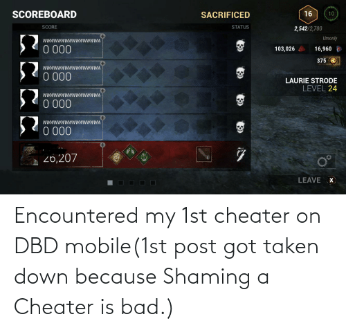 Shaming: Encountered my 1st cheater on DBD mobile(1st post got taken down because Shaming a Cheater is bad.)