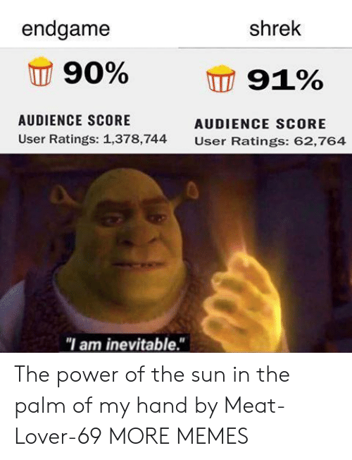 "the palm: endgame  shrek  90%  91%  AUDIENCE SCORE  AUDIENCE SCORE  User Ratings: 1,378,744  User Ratings: 62,764  ""I am inevitable."" The power of the sun in the palm of my hand by Meat-Lover-69 MORE MEMES"
