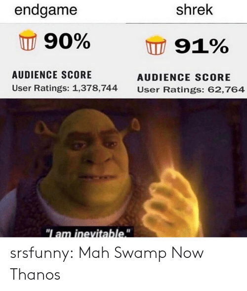 "Thanos: endgame  shrek  90%  91%  AUDIENCE SCORE  AUDIENCE SCORE  User Ratings: 1,378,744  User Ratings: 62,764  ""I am inevitable."" srsfunny:  Mah Swamp Now Thanos"