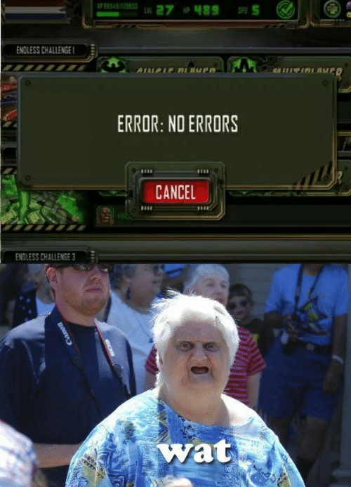 Wat, Challenge, and Error: ENDLESS CHALLENGE  ERROR: NO ERRORS  10  CANCEL  ENDLESS CHALLENGE 3  wat