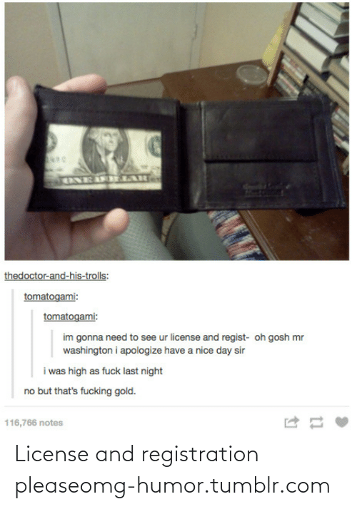 Day Sir: ENEIF LAR  thedoctor-and-his-trolls:  tomatogami:  tomatogami:  im gonna need to see ur license and regist- oh gosh mr  washington i apologize have a nice day sir  i was high as fuck last night  no but that's fucking gold.  116,766 notes License and registration pleaseomg-humor.tumblr.com