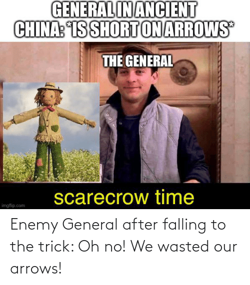 falling: Enemy General after falling to the trick: Oh no! We wasted our arrows!