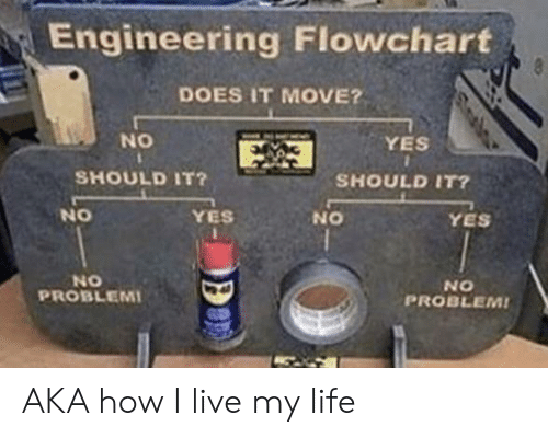 No Yes: Engineering Flowchart  8  DOES IT MOVE?  NO  YES  SHOULD IT?  SHOULD IT?  NO  YES  YES  ON  NO  PROBLEMI  NO  PROBLEM! AKA how I live my life