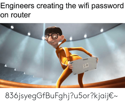 Router, Wifi, and Creating: Engineers creating the wifi password  on router 836jsyegGfBuFghj?u5or?kjaij€~