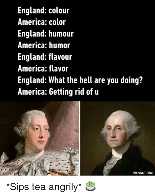 sipping tea: England Colour  America: color  England: humour  America: humor  England flavour  America: flavor  England: What the hell are you doing?  America: Getting rid of u  VIA9GAG.COM *Sips tea angrily* 🍵