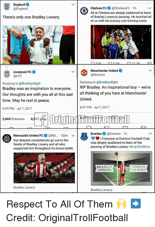 """Chelsea Fc: England  @England  Chelsea FC @chelseaFC 1h  All at Chelsea are deeply saddened to learn  of Bradley Lowery's passing. He touched all  of us with his bravery and winning smile.  There's only one Bradley Lowery.  Manchester United  @ManUtd  Liverpool FC  A@LFC  Replying to @Bradleysfight  Bradley was an inspiration to everyone.RIP Bradley. An inspirational boy  time. May he rest in peace  8:49 PM Jul 7, 2017  Replying to @Bradleysfight  were  Our thoughts are with you all at this sad all thinking of you here at Manchester  United  8:51 PM Jul 7, 2017  2,660 Retweets 6,907 Hkes  Everton@Everton 1h  Newcastle United FC* @NU.."""" 52m 、ノ  Our deepest condolences go out to the  family of Bradley Lowery and all who  supported him throughout his brave battle.  Everyone at Everton Football Club  was deeply saddened to learn of the  passing of Bradley Lowery: bit.ly/2tUMcxv  BRADLEY  LOWERY  ALWAYS IN  OUR HEARTS  Bradley Lowery  Bradley Lowery Respect To All Of Them 🙌 ➡️Credit: OriginalTrollFootball"""