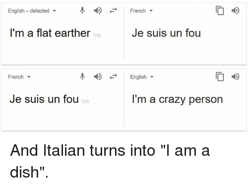 "Crazy, Dank, and Dish: English - detected  -  French  I'm a flat earther  Je suis un fou  Edit  French  English  I D  Je suis un fou  I'm a crazy person  Edit And Italian turns into ""I am a dish""."