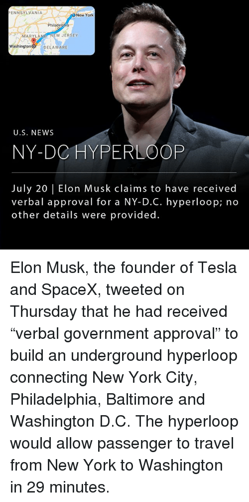 """Hyperloop: ENNSYLVANIA  New York  Philadelphia  MARYLAND NEW JERSEY  Washington O DELAWARE  U.S. NEWS  NY-DC HYPERLOOP  July 20 