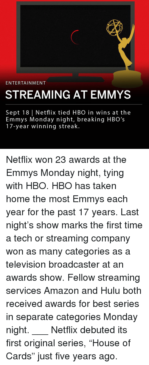 "Amazon, Hbo, and Hulu: ENTERTAINMENT  STREAMING AT EMMYS  Sept 18 | Netflix tied HBO in wins at the  Emmys Monday night, breaking HBO's  17-year winning streak. Netflix won 23 awards at the Emmys Monday night, tying with HBO. HBO has taken home the most Emmys each year for the past 17 years. Last night's show marks the first time a tech or streaming company won as many categories as a television broadcaster at an awards show. Fellow streaming services Amazon and Hulu both received awards for best series in separate categories Monday night. ___ Netflix debuted its first original series, ""House of Cards"" just five years ago."