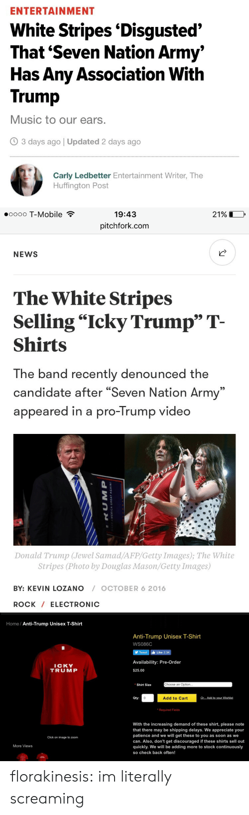 """Increasing: ENTERTAINMENT  White Stripes 'Disgusted'  That 'Seven Nation Army'  Has Any Association With  Trump  Music to our ears.  3 days ago 