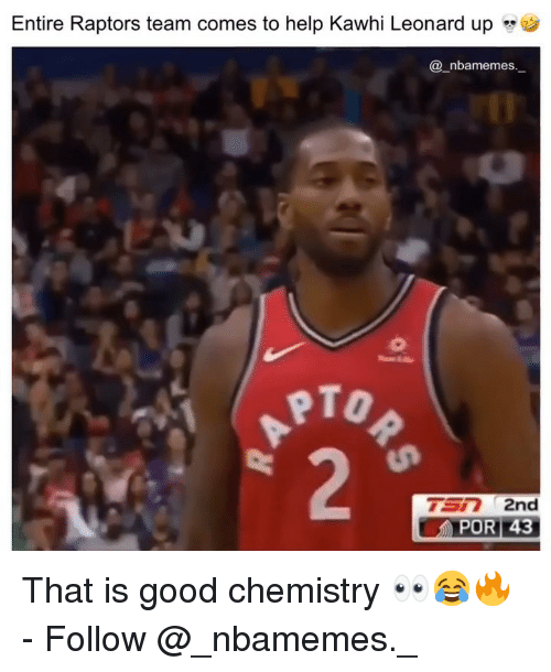 "Memes, Kawhi Leonard, and Good: Entire Raptors team comes to help Kawhi Leonard up ""  @ nbamemes._  PTO  TSR 2nd That is good chemistry 👀😂🔥 - Follow @_nbamemes._"