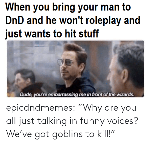 "all: epicdndmemes:  ""Why are you all just talking in funny voices? We've got goblins to kill!"""