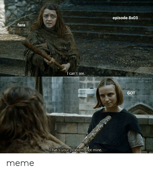 Meme, Got, and Mine: episode 8x03  fans  I can't see.  Eameofthrones scenes  GoT 6x01  GOT  That s your problem, not mine. meme