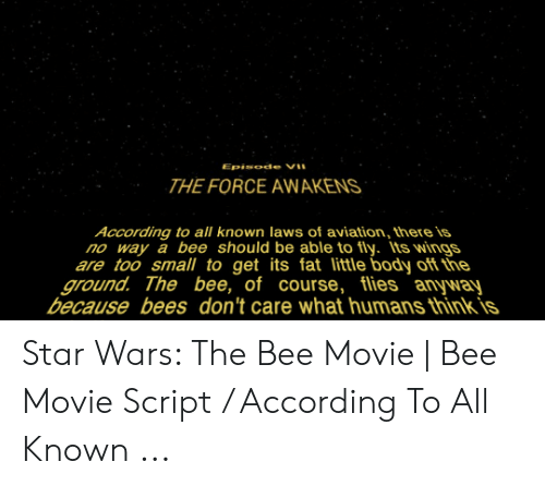 Bee Movie, Star Wars, and Movie: Episode V  THE FORCE AWAKENS  According to all known laws of aviation, there is  no way a bee should be able to fly. Its wings  are too small to get its fat little body off the  ground. The bee, of course, flies anyway  because bees don't care what humans think is Star Wars: The Bee Movie | Bee Movie Script / According To All Known ...