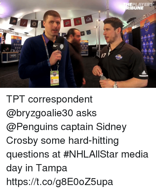 All Star, Memes, and Penguins: EPLAYERS  BUN  ALL STAR TPT correspondent @bryzgoalie30 asks @Penguins captain Sidney Crosby some hard-hitting questions at #NHLAllStar media day in Tampa https://t.co/g8E0oZ5upa