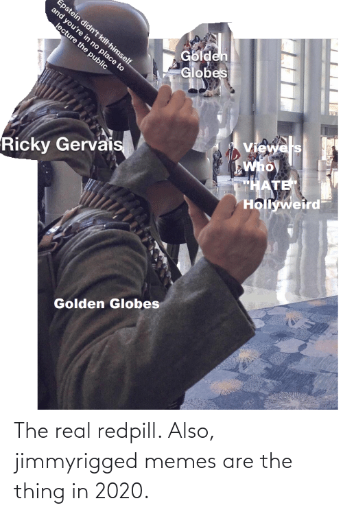 """the thing: Epstein didn't kill himself  and you're in no place to  Golden  Globes  lecture the public  Viewels  Who  """"HATE  Hollyweird  Ricky Gervais  Golden Globes The real redpill. Also, jimmyrigged memes are the thing in 2020."""