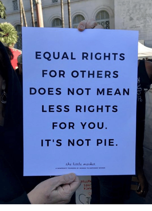 Equal Rights: EQUAL RIGHTS  FOR OTHERS  DOES NOT MEAN  LESS RIGHTS  FOR YOU  IT'S NOT PIE  the little manket  53시
