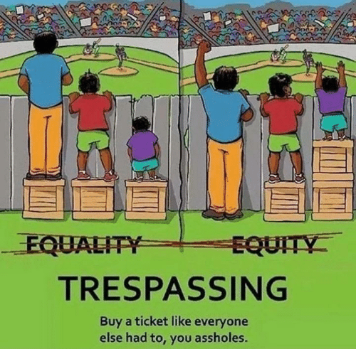 Had To: EQUALITY  EQUITY  TRESPASSING  Buy a ticket like everyone  else had to, you assholes.