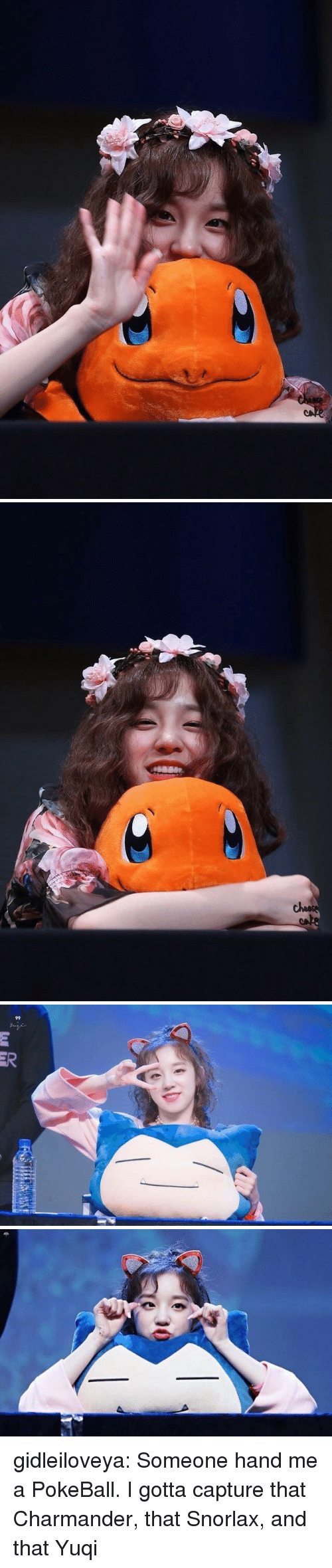 charmander: ER gidleiloveya:  Someone hand me a PokeBall. I gotta capture that Charmander, that Snorlax, and that Yuqi