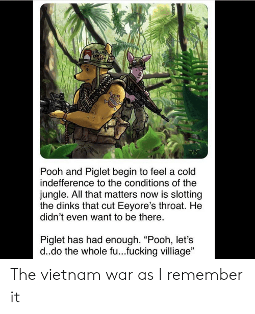 "History, Vietnam, and Cold: ERAI  DONT  SUR  Pooh and Piglet begin to feel a cold  indefference to the conditions of the  jungle. All that matters now is slotting  the dinks that cut Eeyore's throat. He  didn't even want to be there.  Piglet has had enough. ""Pooh, let's  d.do the whole fu...fucking villiage"" The vietnam war as I remember it"