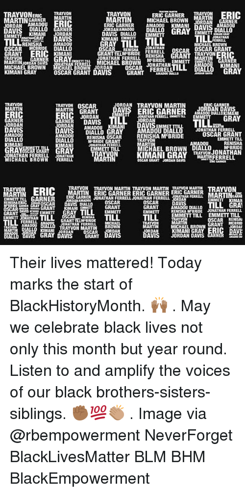 Neverforget: ERIC GARNER MA  TRAYVONERRAYVON  MARTINNERMARTIN  JORDAN AMADOUERIC  TRAYVON  MARTIN MICHAEL BROWN N GARNER  ERIC GARNER AMADOU KIMANL DAVIS  JORDAN AMADOu  nIALLO  D GARNER  EMMETTKIMANI JORDAN  AMADOU  OSCAR MCBRIDE DIALLO  IMAN  JORDANAMADOU DU  DAVIS DIALLO EMM  KIMANI EMMET  AVIS DIALLO  GRAY  EMMETTA  TILL  ILL  RENISHA  MICHAEL BROWN  JONATHAN  ONATHAN FERRLLMIHA GRANTRAYVONERIC  MICHAEL BROWN JONATHAN  GRANTLLM BRIDE FERRELL OSCAR OSCAR GRANT  RN  ARTIN ORDRO ANs  3閻罛ERO  KIMANI  RAY  MICHAEL BROWN MC  JORDAN  OSCAR FERRELL LOLL  DIA  KIMANI GRAY  DAVIS GRANT  TRAYVON OSCAR  JORDAN TRAYVON MARTIN  MARTIN  RIC  JORDAN  JONATHAN FERRELL EXEMETT  EMM  GRAY  ARNE  JORDAN  DAVIS  AMADOU  ORDANAMADOu  KIMAN  VIS  It  JONATHAN FERRELL  ENISHA M BRIDE  AMADOU  RENISHA OSCAR  M'BRIDE GRAN  JONATHAN FERREL  EMMETT TILL  EMMETT TIu  KIMANI  RA  EL BROWN  MCBRIDE  ATHAN FERRELL JONAT  WN FERRELL  OSCAR GRANT JORDAN DAS  TRAYVON TRAYVON MARTIN TRAYVON MARTIN TRAYVON MARTIN TRAVO  ERI(C MARTIN ERIC GARNER ERIC GARNER ERIC GARNER  LGARNER DOSCAR  RIARRJONATHAN FERRELJONATHAN FERRELL  EMMEIT ILL  OSCAR DAVIS DIALLO  TILL GRA  GRANT AMADOU DIALLO  EMMETT RENISHA M BRIDE JONATHAN FERRELL  EMMETT TILL  EMMETT TILL  EMMETT JONATHAN  OSCARRENISH  JONATHAN FERRELL  MICHAEL BROW  KIMANI GRAY  JORDAN DAMS  BBOWN  TRAYVON MARTIN  IMANIJORDAN OSCAR  GRAY DAVIS GRANT Their lives mattered! Today marks the start of BlackHistoryMonth. 🙌🏾 . May we celebrate black lives not only this month but year round. Listen to and amplify the voices of our black brothers-sisters-siblings. ✊🏾💯👏🏽 . Image via @rbempowerment NeverForget BlackLivesMatter BLM BHM BlackEmpowerment