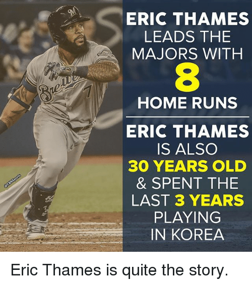 30 Years Old: ERIC THAMES  LEADS THE  MAJORS WITH  HOME RUNS  ERIC THAMES  IS ALSO  30 YEARS OLD  & SPENT THE  LAST 3 YEARS  PLAYING  IN KOREA Eric Thames is quite the story.