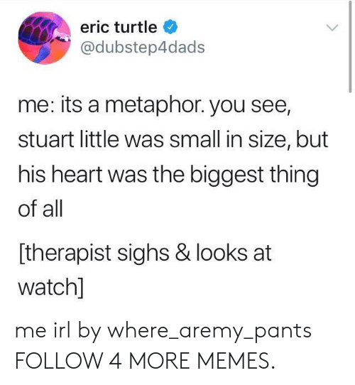 His Heart: eric turtle  @dubstep4dads  me: its a metaphor. you see,  stuart little was small in size, but  his heart was the biggest thing  of all  [therapist sighs & looks at  watch] me irl by where_aremy_pants FOLLOW 4 MORE MEMES.